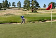 A drill for bunker shot distance control