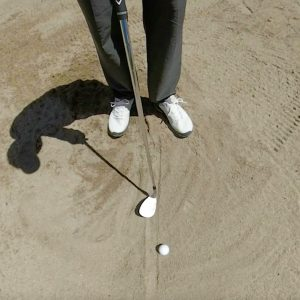 Ground your club in the sand for this drill - you won't be penalized- bunker line drill