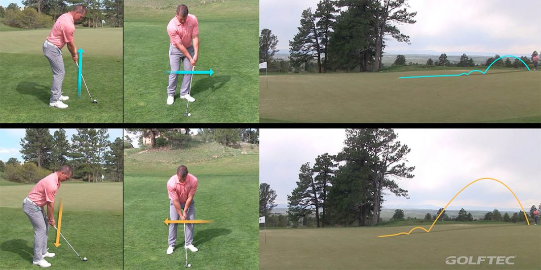 Short game trajectory control by adjusting the handle of your club