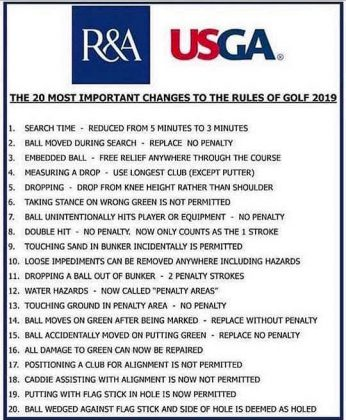 2019 Rules of Golf Changes guide